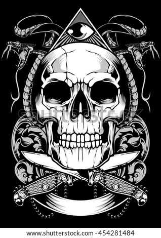 skull snake vector design