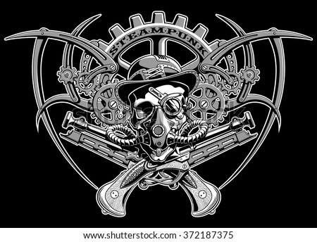 skull steampunk gears in a hat