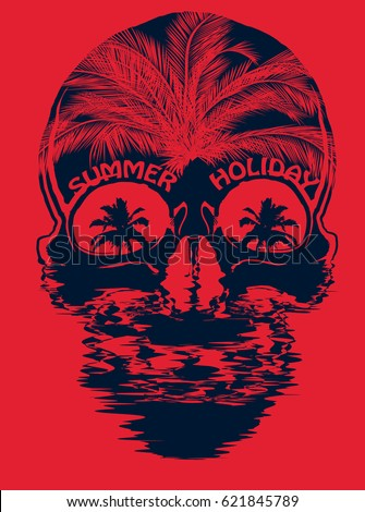 skull summer t shirt graphic