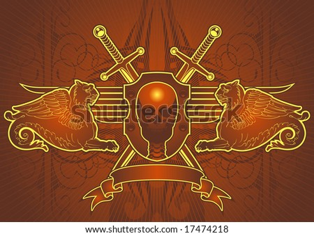 Skull, sword and lion motif in red