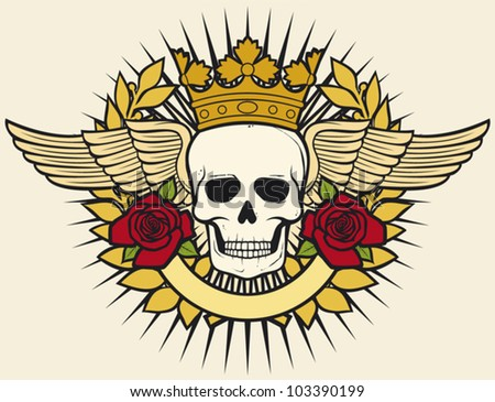 skull symbol - skull tattoo design (crown, laurel wreath, wings, roses ...