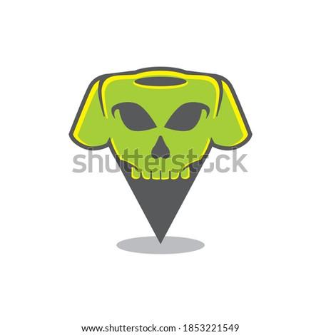 skull t shirt pin point locator vector icon