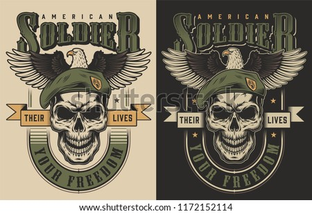 Skull t-shirt print concept witn eagle. Vector illustration