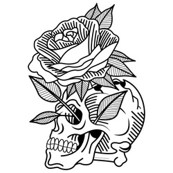skull tattoo, old school, rose, lifestyle