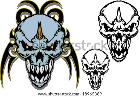 stock vector Skull tribal