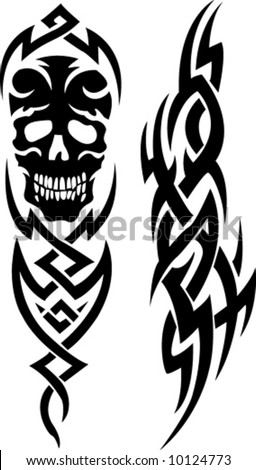 stock vector : Skull tribal tattoo