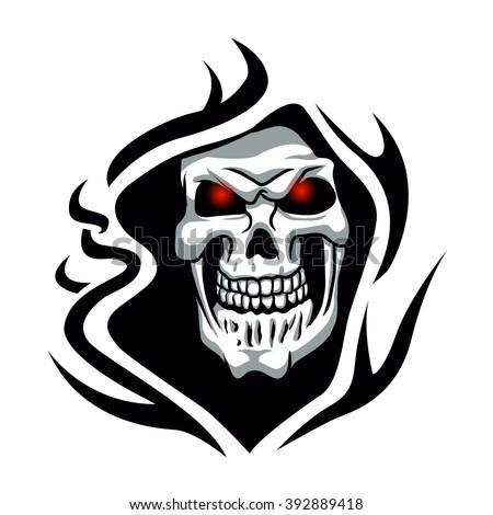 skull tribal tattoogrim reaper