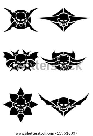 skull tribal tattoo set