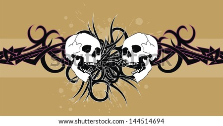a818ec6beb05d Warrior · skull tribal tattoo vector background in vector format very easy  to edit ...