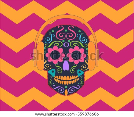 skull vector with headphone
