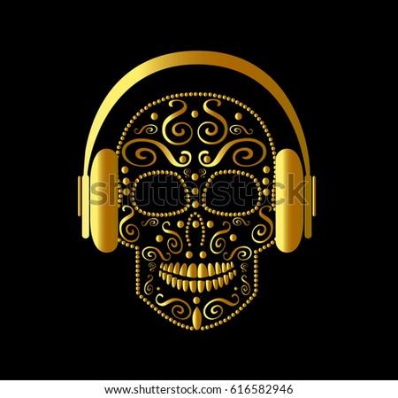 skull vector with headphones