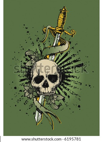 stock vector : skull vintage tattoo