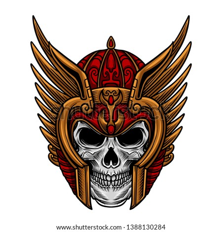 Skull Warrior Head Mask Vector