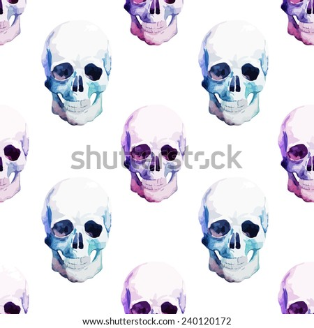 skull watercolor pattern