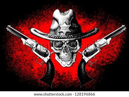 Skull Cowboy Hat Skull Wearing a Cowboy Hat