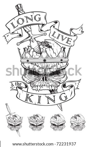 Skull wearing a crown stabbed with Dagger