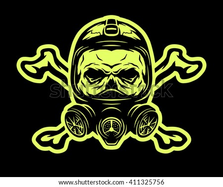 skull wearing a gas mask and
