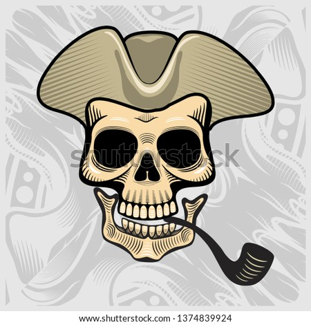 skull wearing a smoking hat,vector