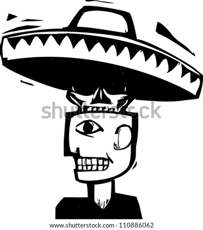 Skull wearing a sombrero emerging from inside a man's head. - stock vector