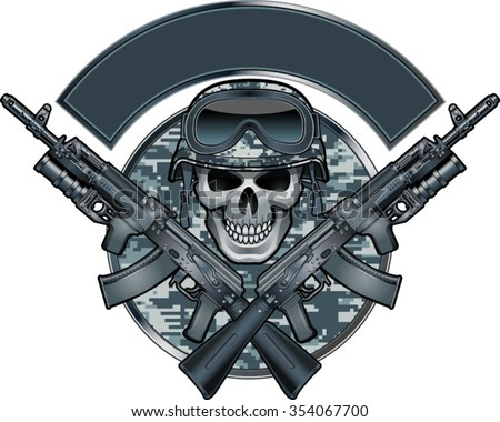 skull wearing army helmet  and