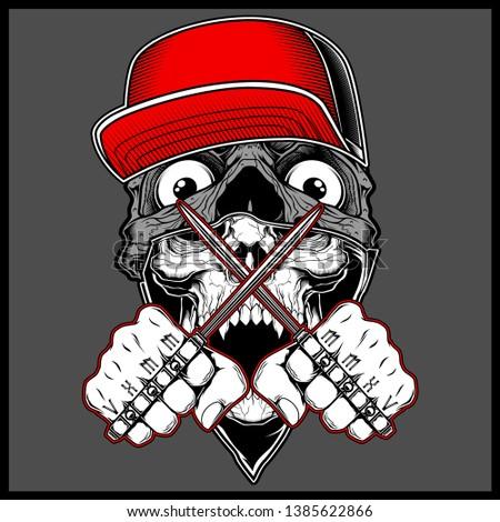 skull wearing cap handling knuckle knife.vector