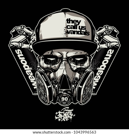 skull wearing gas mask for