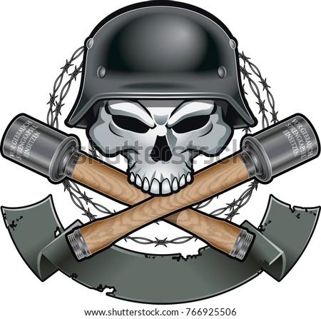 skull wearing german military