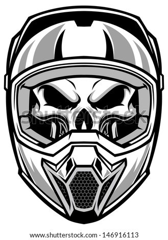 skull wearing motocross helmet