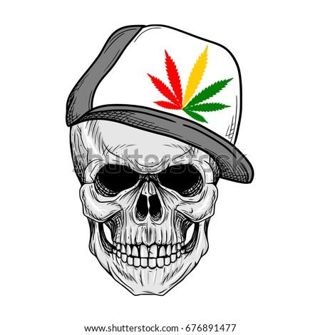 skull wearing rasta hat