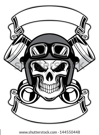 skull wearing retro motorbike