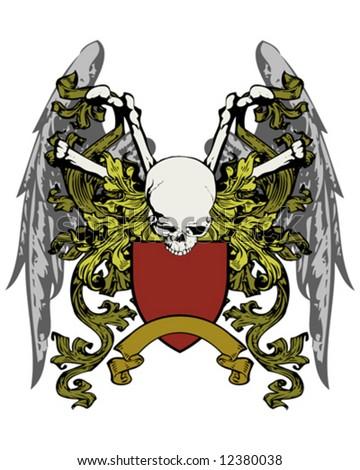 skull wings crest