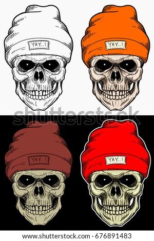 skull winter hat hand drawing