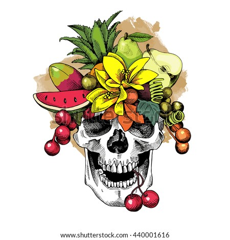 skull with a fruits headband
