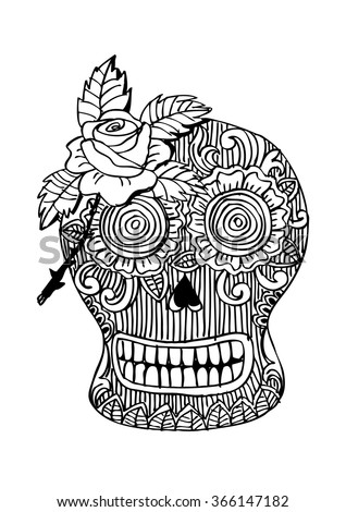 skull with a rose doodle style