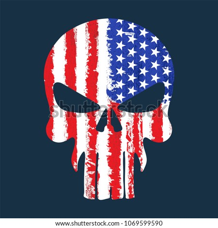 Skull with American flag illustration, T-Shirt graphics, vector design