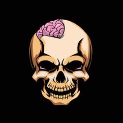 skull with an open brain cartoon vector crest logo template