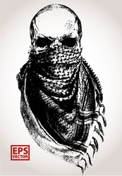 SKULL WITH ARABIC SCARF AND MASKER