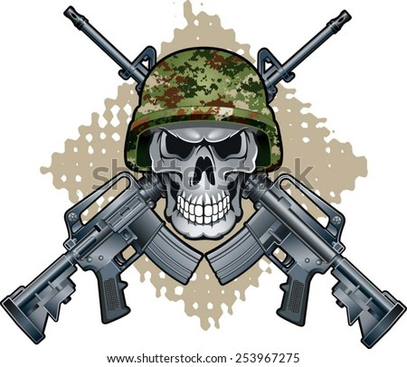 skull with army helmet and