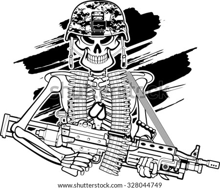 skull with army helmet and m249