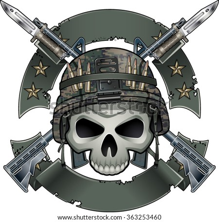 skull with army helmet crossing