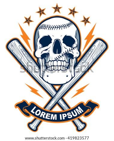 skull with baseball bats