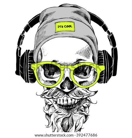 Skull with beard, mustache in the hipster hat and headphones, glasses. Vector illustration.