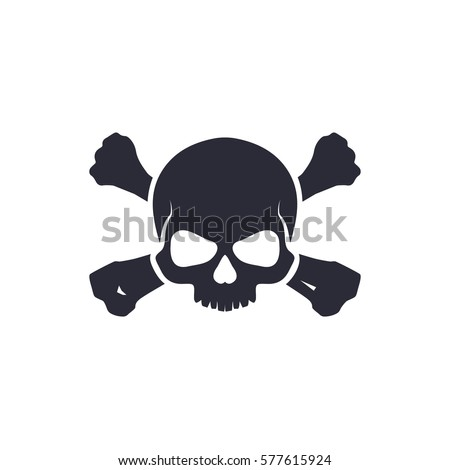 skull with bones sign vector