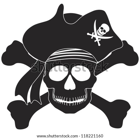 skull with captain pirate hat