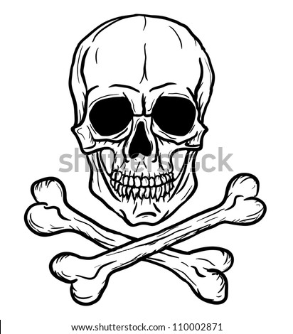 Skull with Crossbones isolated over white background. Vector illustration. Freehand drawing.