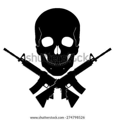 skull with crossed guns  black