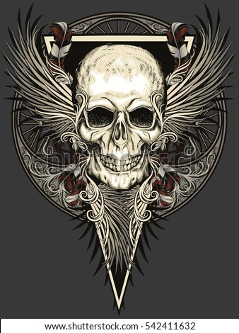 skull with feathers wings and