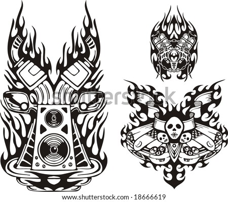 Auto Racing Speakers on Skull With Flags And Musical Speakers  Racing Compositions  Vector