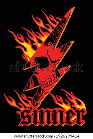 skull with flame illustration