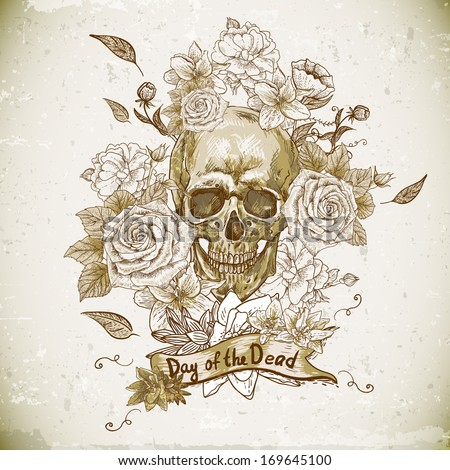 skull with flowers  day of the